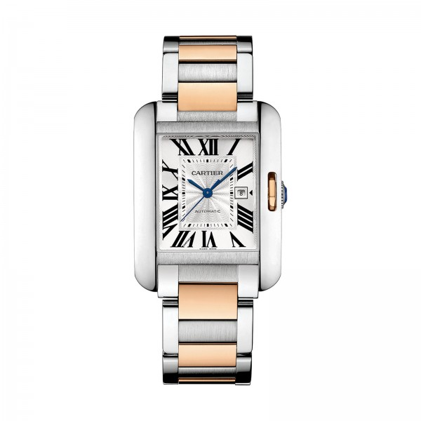 Cartier Tank Anglaise Large Model 18K pink gold and steel